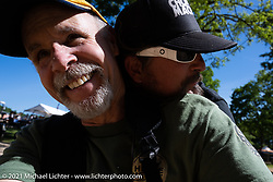 Michael Lichter and Pat Patterson at the Tennessee Motorcycles and Music Revival at Loretta Lynn's Ranch. Hurricane Mills, TN, USA. Thursday, May 20, 2021. Photography ©2021 Michael Lichter.