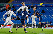 Leeds United forward Patrick Bamford (9) hits the post  during the Premier League match between Leeds United and Arsenal at Elland Road, Leeds, England on 22 November 2020.