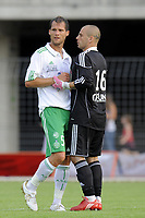 FOOTBALL - FRIENDLY GAMES 2010/2011 - SAINT ETIENNE v CLERMONT FOOT - 09/07/2010 - PHOTO JEAN MARIE HERVIO / DPPI - SYLVAIN MARCHAL / JEREMIE JANOT (ASSE)