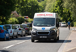 © Licensed to London News Pictures; 27/05/2020; Weston-super-Mare, UK. Ambulances are seen at Weston General Hospital which has been closed to all new admissions including to A&E following an increase in cases of Covid-29 coronavirus being treated at the hospital. It's also reported that 40% of the hospital's staff have tested positive for coronavirus but many have no symptoms. Today mobile coronavirus test centre staffed by the army has opened in the town, to test for coronavirus during the Covid-19 pandemic. Photo credit: Simon Chapman/LNP.