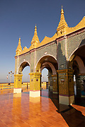 Ornate, opulent and golden arches, deck and passages in the Su Taung Pyai Pagoda