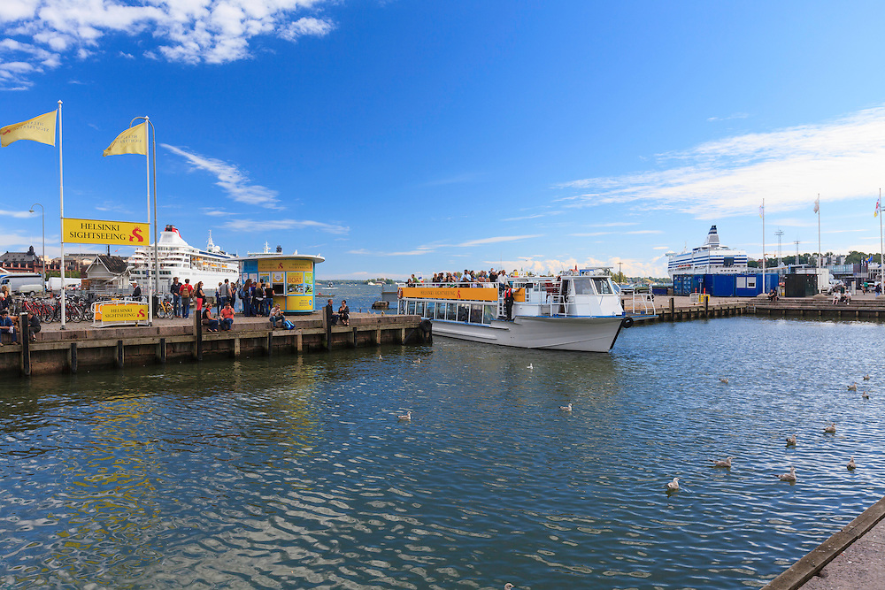 A sightseeing boat in Helsinki, Finland. Live-guided archipelago sightseeing cruises are popular way to enjoy sealife.
