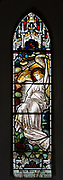 Stained glass window angel in heaven by Henry James Salisbury (1864-1916), Bishops Cannings church, Wiltshire, England, UK