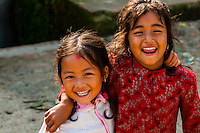 Nepalese girls, Bhaktapur, Kathmandu Valley, Nepal.