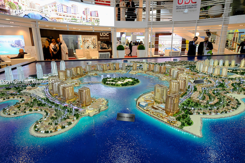 Model of new luxury residential property developments at The Pearl-Qatar in Doha on display at property trade fair in Dubai United Arab Emirates
