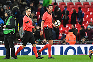Referee Deniz Aytekin leaves the pitch after the Friendly match between England and Italy at Wembley Stadium, London, England on 27 March 2018. Picture by Stephen Wright.