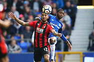 Joshua King of Bournemouth gets in front of Cuco Martina of Everton. Premier league match, Everton vs Bournemouth at Goodison Park in Liverpool, Merseyside on Saturday 23rd September 2017.<br /> pic by Chris Stading, Andrew Orchard sports photography.