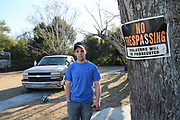 Tommy O'Hara on his grand-ma's land. He has been living with her since his dad unexpectedly died in 2015. He mainly grew up outside the community. <br /> <br /> Murphy Village, North Augusta, South Carolina is a community of around 2000 Irish Travellers who settled there in the late 60s. They bought some land, following the advice of Catholic priest Father Murphy who also had a catholic church, St Edward, built in Murphy village.