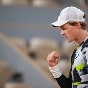 PARIS, FRANCE October 06. Jannik Sinner of Italy reacts during his match against Rafael Nadal of Spain in the Quarter Finals of the singles competition on Court Philippe-Chatrier during the French Open Tennis Tournament at Roland Garros on October 6th 2020 in Paris, France. (Photo by Tim Clayton/Corbis via Getty Images)