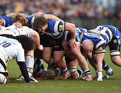 Bath Rugby loosehead prop Nick Auterac in scrum against Wasps at the Recreation Ground - Photo mandatory by-line: Paul Knight/JMP - Mobile: 07966 386802 - 10/01/2015 - SPORT - Rugby - Bath - The Recreation Ground - Bath Rugby v Wasps - Aviva Premiership