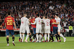 Spain's players and England's players have words during UEFA Nations League 2019 match between Spain and England at Benito Villamarin stadium in Sevilla, Spain. October 15, 2018. Photo by A. Perez Meca/Alterphotos/ABACAPRESS.COM