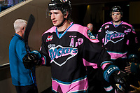 KELOWNA, CANADA - OCTOBER 21: James Hilsendager of the Kelowna Rockets walks to the ice at the start of third period against the Portland Winterhawks on October 21, 2017 at Prospera Place in Kelowna, British Columbia, Canada.  (Photo by Marissa Baecker/Shoot the Breeze)  *** Local Caption ***