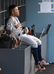 October 24, 2017 - Los Angeles, California, U.S. - Houston Astros' Jose Altuve at the end of the first inning of game one of a World Series baseball game against the Los Angeles Dodgers at Dodger Stadium on Tuesday, Oct. 24, 2017 in Los Angeles. (Photo by Keith Birmingham, Pasadena Star-News/SCNG) (Credit Image: © San Gabriel Valley Tribune via ZUMA Wire)