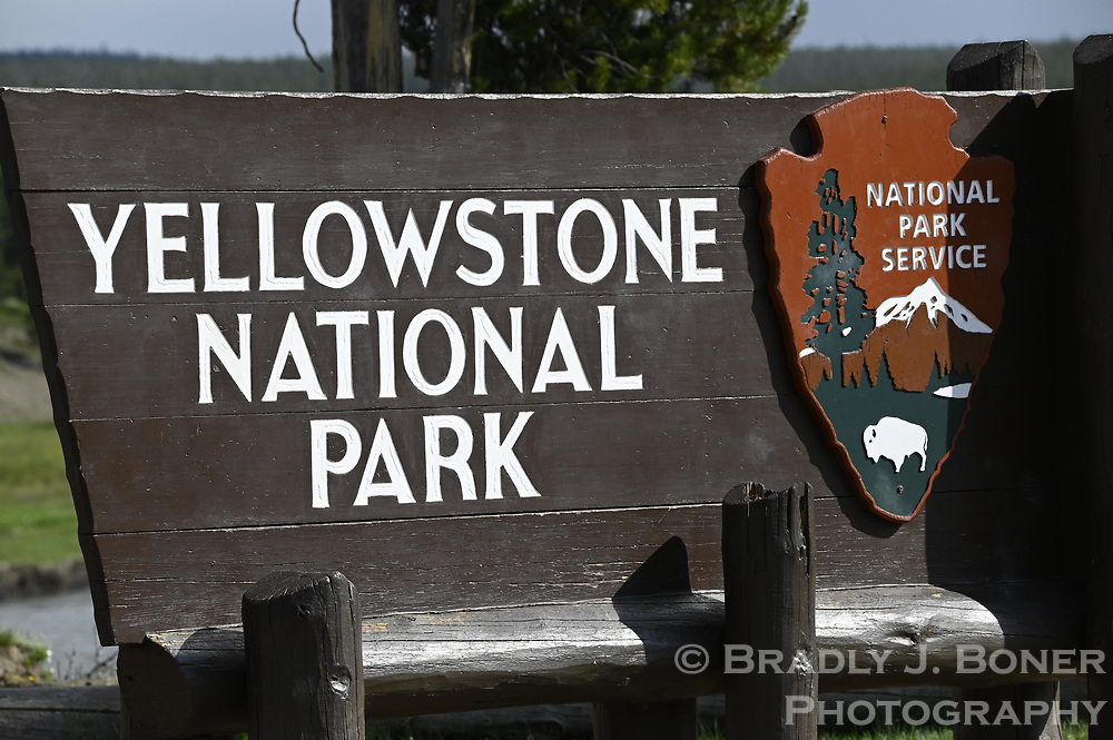 Sign at South Gate of Yellowstone National Park