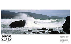 A panoramic view of Wellington's stormy South Coast at Breaker Bay, Wellington, New Zealand.<br />