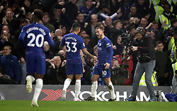 File photo dated 08-04-2019 of Chelsea's Eden Hazard (right) celebrates scoring his side's first goal of the game against West Ham United with Emerson Palmieri during the Premier League match at Stamford Bridge, London.