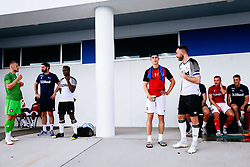 Callum O'Dowda of Bristol City chats to Richard Keogh of Derby County during an enforced 30 minute break in play due to Lightening nearby - Rogan/JMP - 13/07/2019 - IMG Academy, Bradenton - Florida, USA - Bristol City v Derby County - Pre-Season Tour Day 3.