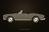 Black and white version of the iconic Alfa Romeo Giulietta 1300 Spyder from 1955. <br />