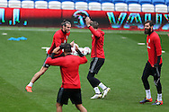 Gareth Bale (l) , Chris Gunter © and Joe Ledley of Wales (r) joke around during Wales football team training at the Cardiff city Stadium in Cardiff , South Wales on Saturday 8th October 2016, the team are preparing for their FIFA World Cup qualifier home to Georgia tomorrow. pic by Andrew Orchard, Andrew Orchard sports photography