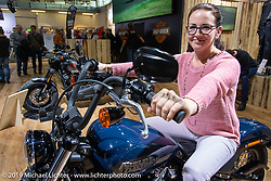 Checking out the new Harley-Davidson offerings in the HD display at the Swiss-Moto Customizing and Tuning Show. Zurich, Switzerland. Sunday, February 24, 2019. Photography ©2019 Michael Lichter.