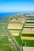 Nederland, Groningen, Gemeente Eemsmond, 05-08-2014; Groningerwad met kwelders en landaanwinning, grenzend aan de Lauwerpolder. eemshaven aan de horizon.<br /> Salt marshes and land reclamation, next to the Lauwerpolder.<br /> <br /> luchtfoto (toeslag op standard tarieven);<br /> aerial photo (additional fee required);<br /> copyright foto/photo Siebe Swart