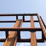 Low angle view of metal built structure
