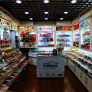 The interior of a candy store in Old Shanghai China.