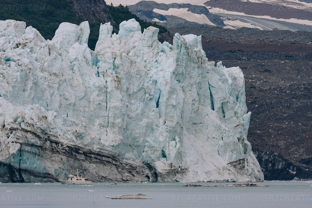 A boat near Lamplugh Glacier in Alaska's Glacier Bay National Park and Preserve. Photo © Robert Zaleski / rzcreative.com<br /> —<br /> To license this image contact: robert@rzcreative.com