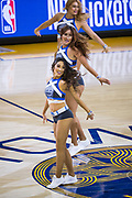 The Golden State Warriors Dance Team performs during a timeout against the LA Clippers at Oracle Arena in Oakland, California, on February 22, 2018. (Stan Olszewski/Special to S.F. Examiner)