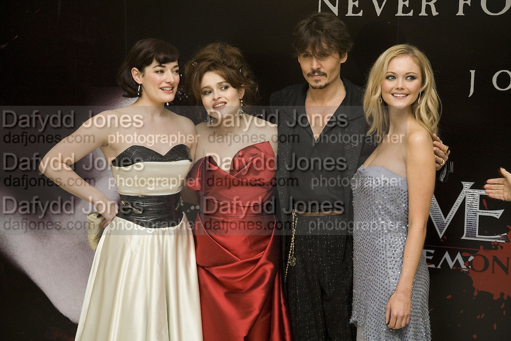 LAURA MICHELLE KELLY, HELENA BONHAM CARTER, JOHNNY DEPP AND JAYNE WISENER. European Film premiere of Sweeny Todd,  Odeon Leicester Sq. and party afterwards at the Royal Courts of Justice. 10 January 2008. -DO NOT ARCHIVE-© Copyright Photograph by Dafydd Jones. 248 Clapham Rd. London SW9 0PZ. Tel 0207 820 0771. www.dafjones.com.