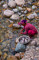 Woman washing dishes by a river; Ladakh, Jammu and Kashmir State, India.