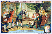 History of Electricity: Ramsden demonstrating his static electric machine in a fashionable household, 1766.   Liebig Trade Card c1910. Science Technology Electricity