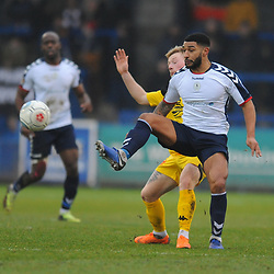TELFORD COPYRIGHT MIKE SHERIDAN 19/1/2019 - Ellis Deeney of AFC Telford battles for the ball during the Vanarama Conference North fixture between AFC Telford United and Kidderminster Harriers