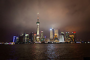 Night view of the skyline of Lujiazui Shanghai, China