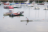 Man canoeing in Dun Laoghaire Harbour Dublin Ireland