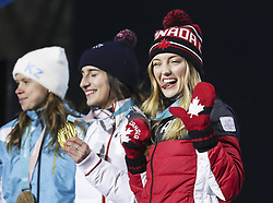 PYEONGCHANG, Feb. 12, 2018  Second-placed Justine Dufour-Lapointe from Canada (R) reacts on the podium during medal ceremony for ladies' moguls event of freestyle skiing at 2018 PyeongChang Winter Olympic Games at the Medal Plaza in PyeongChang, South Korea, on Feb. 12, 2018. (Credit Image: © Wu Zhuang/Xinhua via ZUMA Wire)