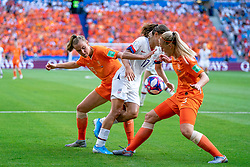 07-07-2019 FRA: Final USA - Netherlands, Lyon<br /> FIFA Women's World Cup France final match between United States of America and Netherlands at Parc Olympique Lyonnais. USA won 2-0 / Tobin Heath #17 of the United States, Jill Roord #19 of the Netherlands, Stefanie van der Gragt #3 of the Netherlands