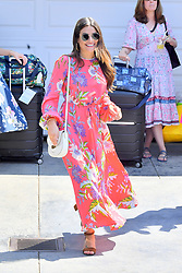 Lea Michele wears a pink floral dress in Brentwood. 12 Aug 2018 Pictured: Lea Michele. Photo credit: Marksman / MEGA TheMegaAgency.com +1 888 505 6342