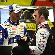 Jimmie Johnson (L) is seen as he talks to Austin Dillon during the 56th Annual NASCAR Daytona 500 practice session at Daytona International Speedway on Wednesday, February 19, 2014 in Daytona Beach, Florida.  (AP Photo/Alex Menendez)