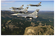 F-16s flying over Mt. Rushmore