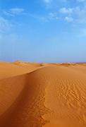 Blue sky and sand dunes in the Sahara Desert, Morocco