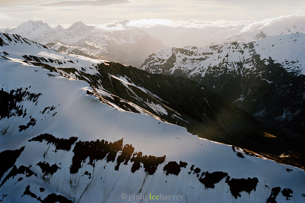 View across Fiordland from a helicopter, Queenstown, Southern Alps, South Island, New Zealand.