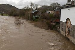 © Licensed to London News Pictures. 29/01/2020. Builth Wells, Powys, Wales, UK. The river Wye bursts it's banks at Builth Wells in Powys as rain continues to fall in Wales. Photo credit: Graham M. Lawrence/LNP