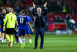 Leicester City manager Claudio Ranieri thanks the away fans after a 2-1 loss - Rogan Thomson/JMP - 22/02/2017 - FOOTBALL - Estadio Ramon Sanchez Pizjuan - Seville, Spain - Sevilla FC v Leicester City - UEFA Champions League Round of 16, 1st Leg.