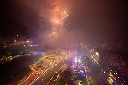 Midnight Fireworks from the Scott Monument. Edinburgh's Hogmanay 2019