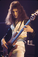 LOS ANGELES, CA - FEBRUARY 25: John Deacon of Queen in concert at The Forum on February 25, 1977 in Los Angeles, California.