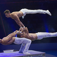 Handstand artists X-Treme Brothers of Romania perform in the new show titled Balance in Circus Budapest in Budapest, Hungary on October 04, 2015. ATTILA VOLGYI