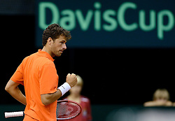 12-09-2014 NED: Davis Cup Nederland - Kroatie, Amsterdam<br /> Robin Haase trekt de stand weer gelijk door met 3-0 te winnen.