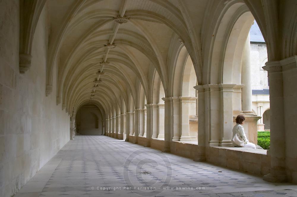In one of the cloisters. Abbaye Royale de Fontevraud abbey, Loire, France
