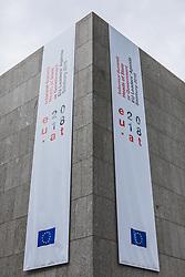 19.09.2018, Salzburg, AUT, Informeller EU Gipfel der Staats und Regierungsschefs, im Bild Feature // Banners during the Informal Summit of Heads of Governments and States of the European Union in Salzburg, Austria on 2018/09/19, EXPA Pictures © 2018, PhotoCredit: EXPA/ JFK